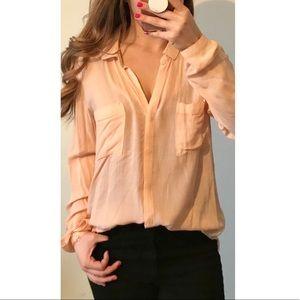 ANTHRO CLOTH & STONE Peach Button Down Medium
